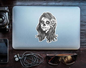 Sugar Skull Girl - Day of the Dead, Old School Stickers with white border, Calavera Catrina with flower, Retro , Monochrome, Black and White