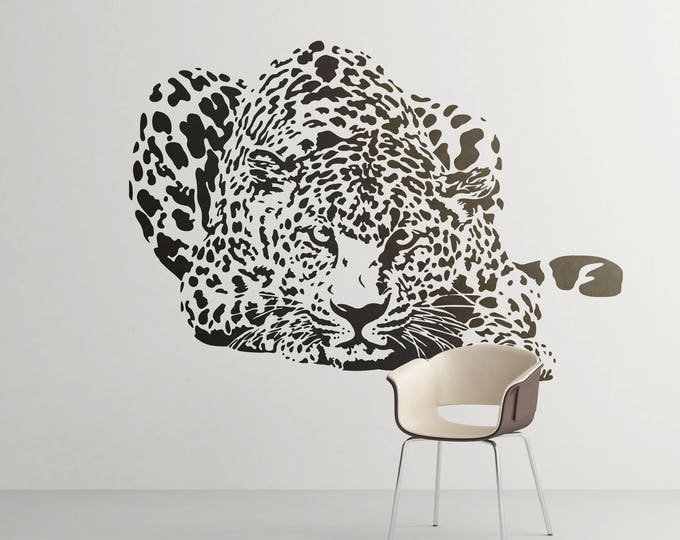 Hunting Leopard Wall Decal, Majestic Animals Collection, Big Cat, Bedroom and Living room decor stickers, Wild Predator, Hunter