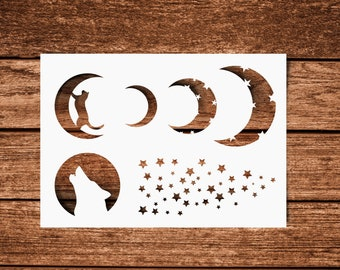 SVG | The Moon The Cat The wolf and The Stars// Universally Compatible Cut Files // eps pdf psd dxf jpg png bmp