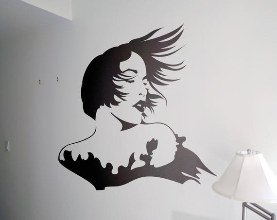 Woman face with wind blowing her hair Wall Decal Sticker, Portrait Silhouette Artistic, Artistic wall decals for home improvement