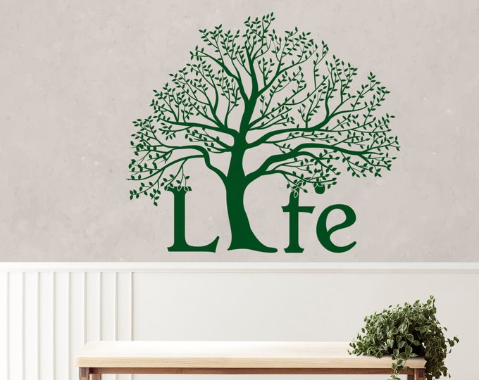 Featured listing image: Tree of life vinyl decal / sticker for wall or window decor, The Science in cosmic evolution and religion philosophies, Garden of Eden