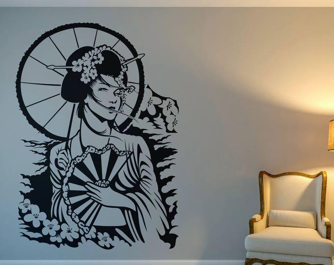 Geisha Woman - Geisha Woman in Feudal Japan, Interior Vinyl Decal / Sticker for wall decor, Geisha Samurai, Sakura Cherry Blossom