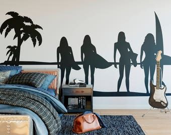 SunSet Ocean Surf Girl, Summer Wall Decal for Surfers or Surfing enthusiasts, Surfer Surfing Wave Ocean Water Swim Wave Hang Loose Beach
