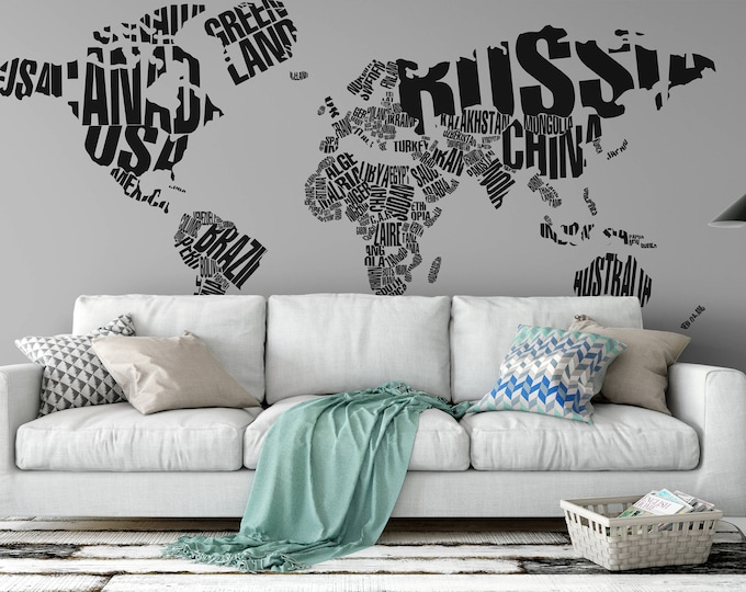Typography World Map in grunge style - Decals for Home Decor, Lettering, Usa France Germany Italy Europe Africa Australia America Russia