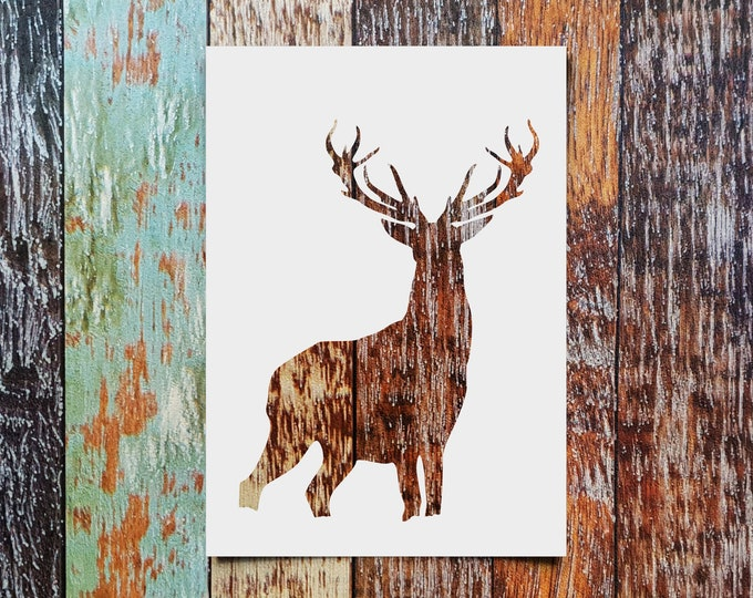 Forest Wild Deer Stencil - Reusable, 220 microns - Ideal for spray paint, Aerograph design, AirBrush templates - Durable Laser Cut Template