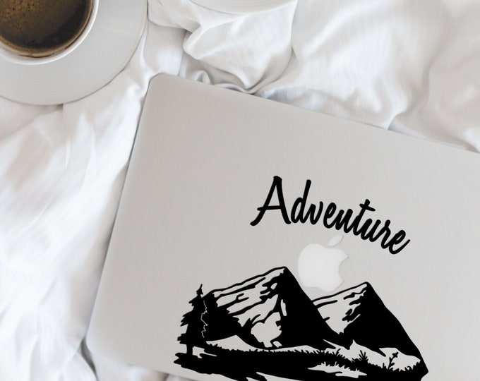 2 units of Adventure  - awaits you - Motivational and Inspiring macbook decal, sticker, laptop decals Mountains are calling, Nature, Live