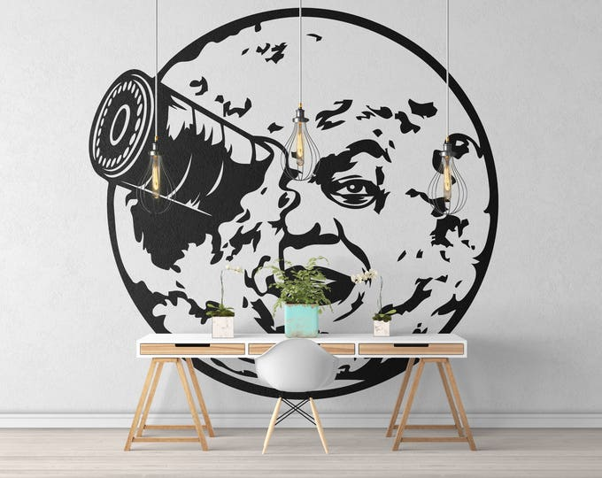 Featured listing image: Trip to the Moon inspired wall decal / sticker - Wall decals for magical minds, Cinema decals and Stickers, Magical minds collection