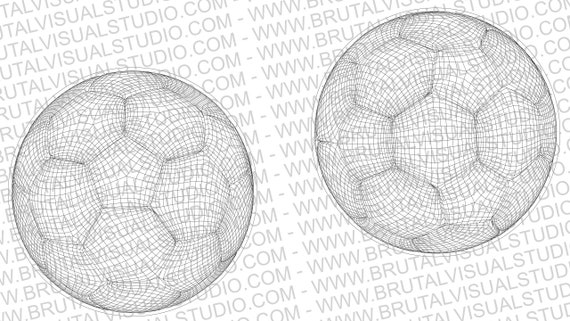 Soccer Ball in Wireframe - True Vectors- Ideal for CNCs & Laser Cutters - 2 poses in .eps, .svg, .jpg, .png, .dpp - Great for Led Lamps