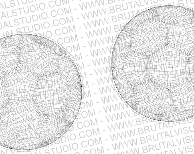 Soccer Ball in Wireframe - True Vectors - Ideal for CNCs & Laser Cutters - 2 poses in eps svg jpg png dpp - Great for Led Lamps