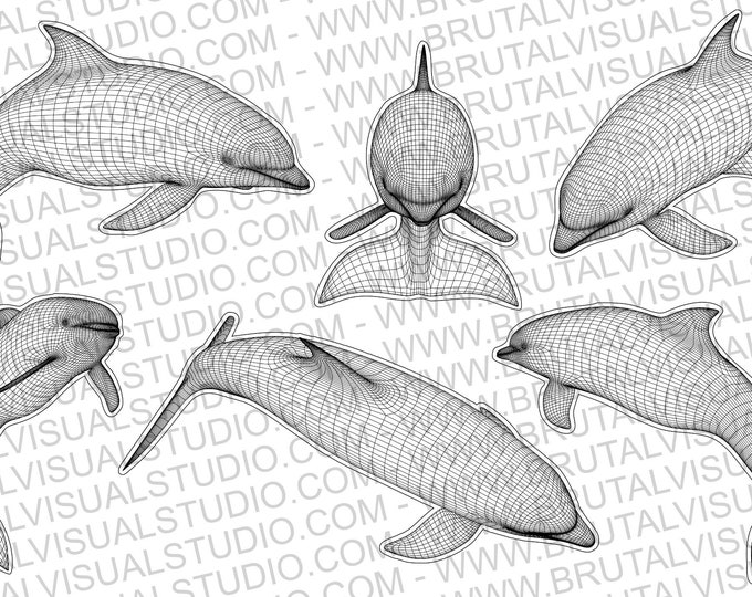 Dolphin in Wireframe - True vector source - Ideal for CNCs and Laser Cutters - 6 poses in eps svg jpg png dpp - Great for led lamps