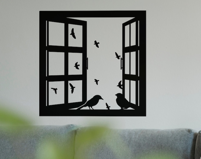Window Frame with Birds Wall Decal Sticker, Window Emulation Decals, Beautiful Birds, Wood window, Sky Outdoors Dove
