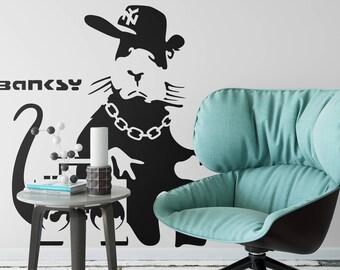 Banksy decal BoomBox Rat, Wall Decal, Sticker, Urban art, Artist, graffiti, stencil, urban walls, wallart, spray, Wall Art, wall decor, art