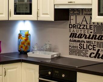 SVG   Kitchen Verbs // Vector // Cut Files // Zest Garnish Carmelize Sautee Drizzle Sift Baste Simmer Puree // eps pdf psd dxf jpg png bmp