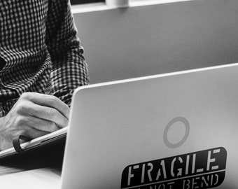 SVG   FRAGILE - Do not Bend  // eps pdf psd dxf jpg png bmp // Laptop // Vector // Universally Compatible Cut Files // EPIC // Laptop decals