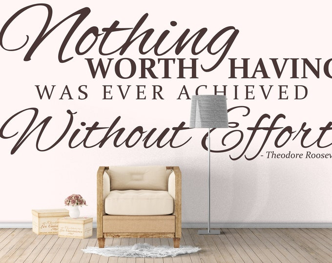 Nothing Great ever came that easy - Inspiring wall decal, Quote Citation Lettering Wall Sticker, For Home or Office Decor