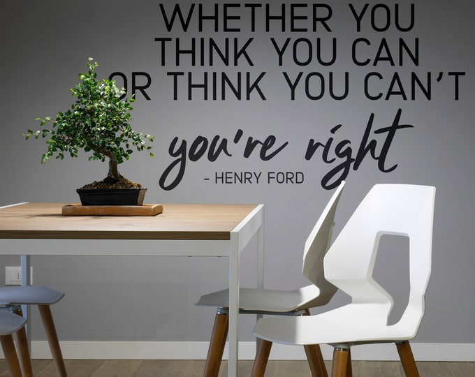 Whether you think you can or you cant - You are right, Motivational Vinyl Wall Decal for Office and Home Improvement, Quote