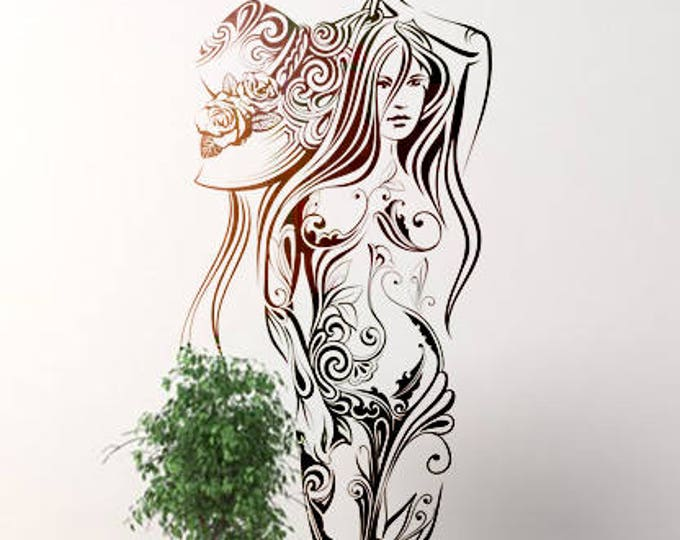 Woman with Sun Hat wall decal sticker for magical minds, Mystic collection, Wall decor stickers woman fantasy floral women sunny Mural