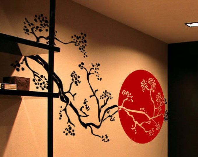 Japanese Cherry Blossom Tree Branch, Sakura, Inspiring Vinyl Poster Japan Nipponic Samurai Bamboo Manga Temple Sushi Rising Sun 日本