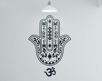 Yoga - The Hamsa Vinyl wall decal sticker, Meditation mural collection, decor, Namaste, Yogi, Hindu, Spiritual, Hand of Fatima, Hamesh