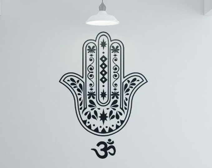 Yoga - The Hamsa Vinyl wall decal sticker, Meditation mural collection, decor, Namaste, Yogi, Hindu, Spiritual, Hand of Fatima, Hamesh