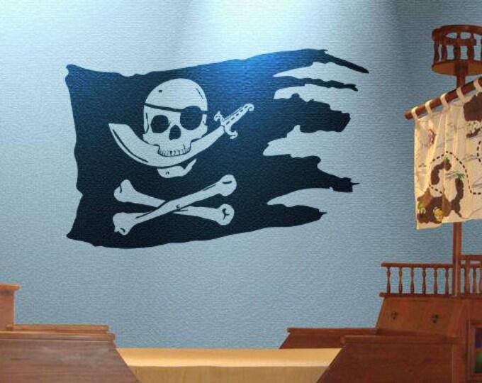 Pirate Flag Wall Decal / Sticker, Arrrrrrr, Ahoy Matey, Pirates Ship, Jolly Roger with Blade, Skull and crossbones, Bones