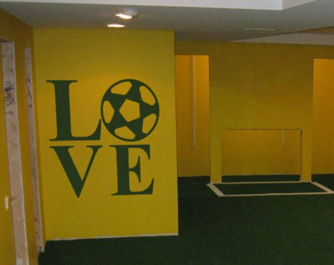 Love Soccer - Typography Wall Decals for Home Decor, Lettering, World League, European Football, Association Football, FIFA, UEFA