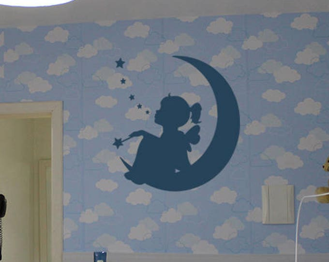 Nursery Wall Decal Sticker, Wall art with fairy girl on the moon looking at the stars, Wishing upon a star bedroom wall decal sticker