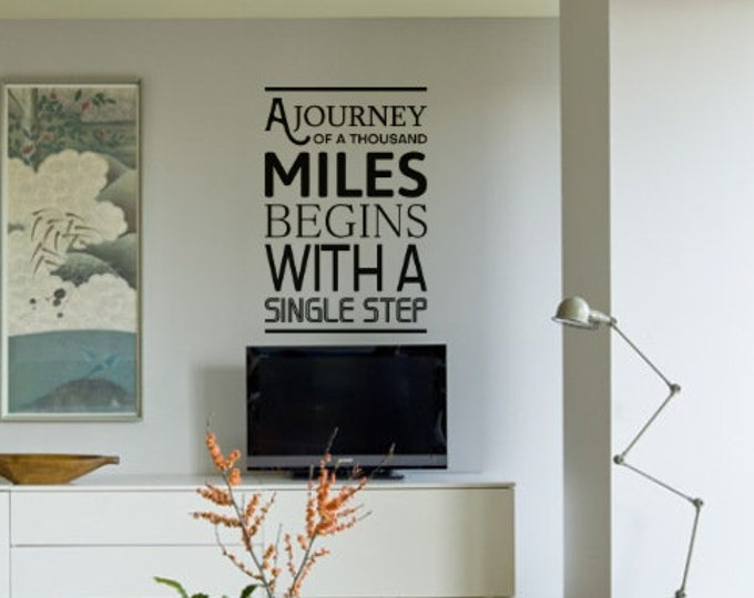 A Journey of 1000 Miles Starts With a Single Step, Motivational Vinup decal sticker Poster collection for wall decor