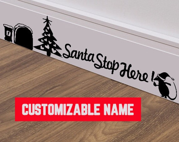 Santa Stop Here - Adorable mice silhouette about Christmas, Cute and adorable vinyl mice decal / sticker collection for wall decor