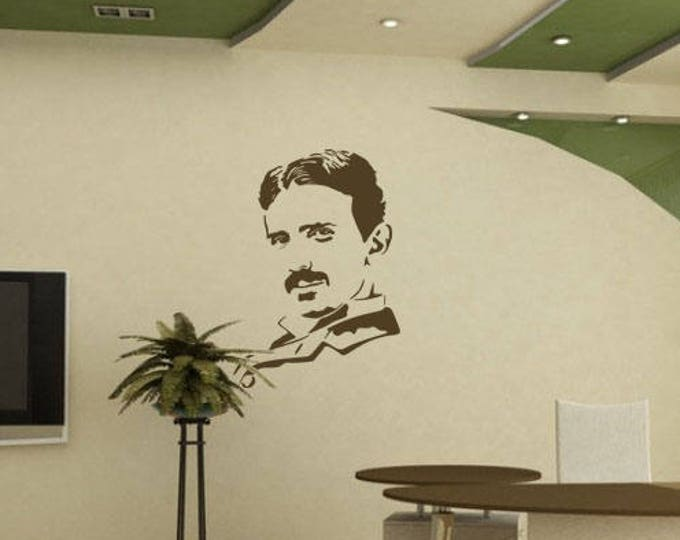 Nikola Tesla vinyl decal / sticker silhouette, Science Tribute Mural for Wall Decor