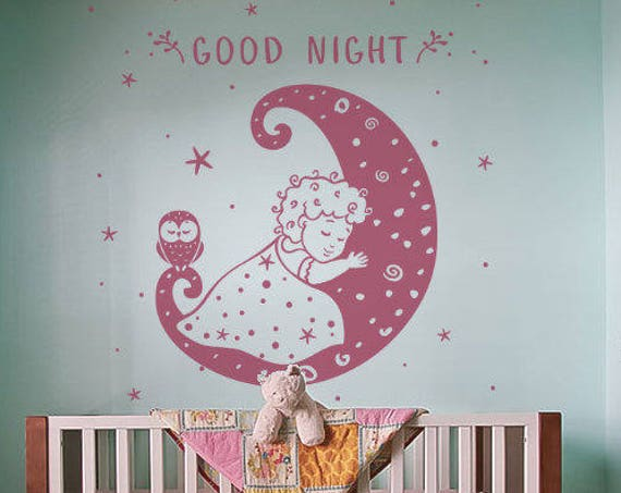 Good Night - Bedroom Decal With a Owl, Little Girl and Moon - Wall Decal / Sticker, decor for kids rooms, Children playrooms, Nurseries