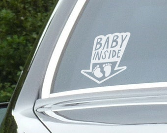 Baby Inside Car Window Decal, Life saver warning in case on accident, Cautious Warning Sign, Cool and Funny decals for cars, Drivers