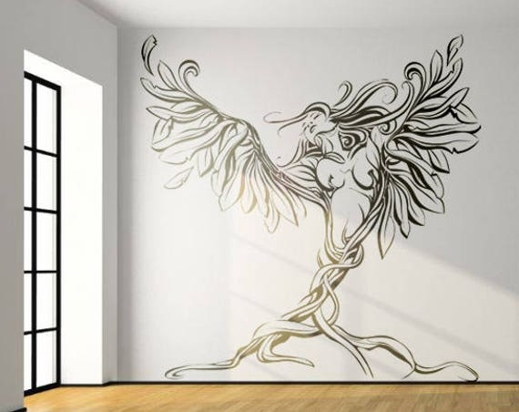Woman releasing herself from her roots wall decal sticker for magical minds, Mystic collection, Wall decor stickers woman fantasy floral