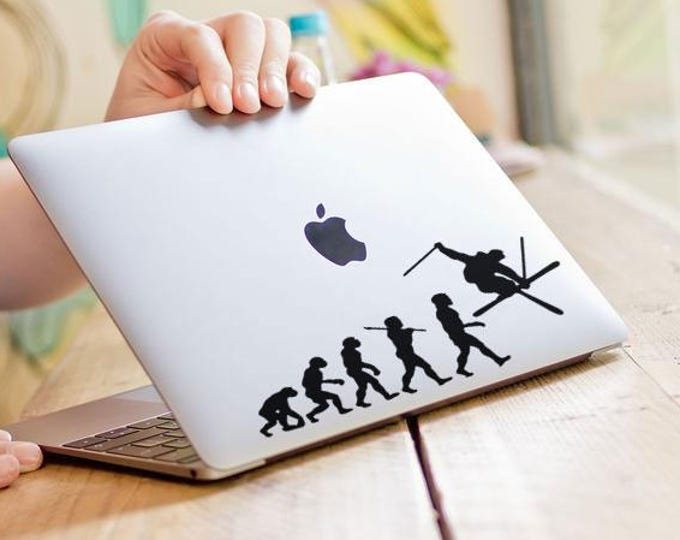 Man Evolution to Skier l Decal Sticker, Snow Snowboard Ski Runner Slalom Rider Monoski Skiing, mac, Macbook Decal Sticker