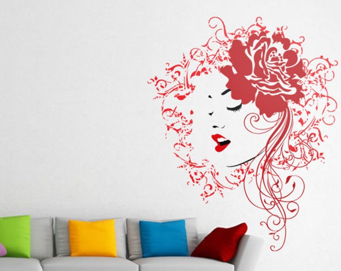Artistic mural representing a Woman with a Rose on her hair, Vinyl wall decal, Artistic mural collection for wall decor - Silhouette