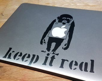 Keep it Real, Decal Sticker for Apple Macbook, Captive, Sad Monkey, Holding a Sign, Iconic, Underdog, Underestimated, Chimpanzee