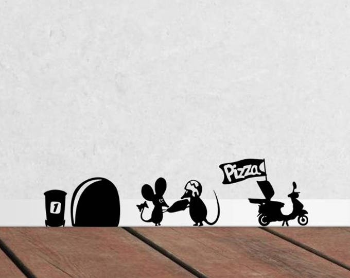 Happy pizza delivery mice silhouette, Cute and adorable vinyl mice decal / sticker collection for wall decor