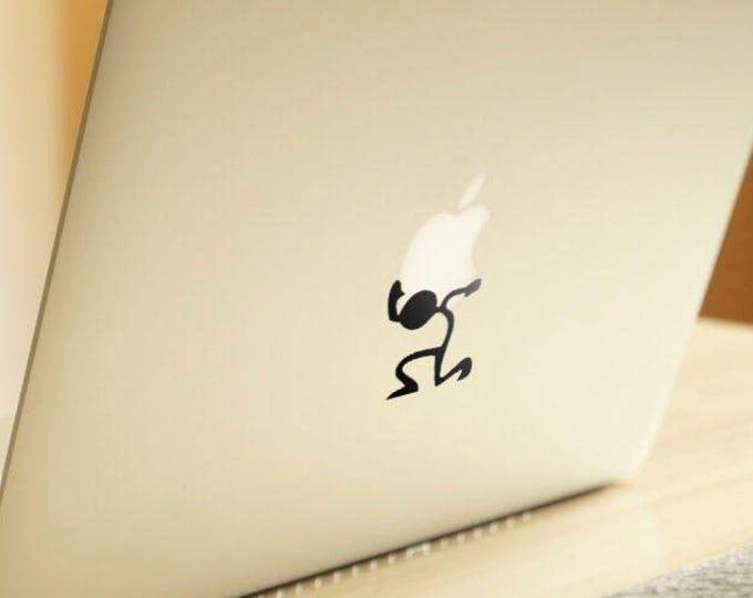 The weight of an Apple Decal Sticker    Laptop Macbook Newton Stickman Stick Funny Decal   Stickman Collection, Macbook Decal Sticker