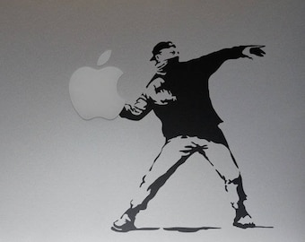 Banksy Molotov ManDecal Sticker, Banksy, Cocktail Molotov, Protester, mac, Macbook Decal Sticker