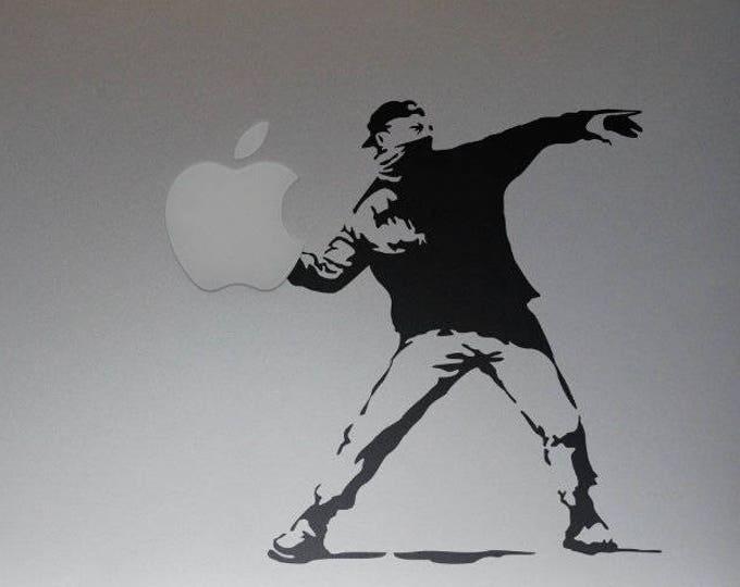Banksy Molotov ManDecal Sticker, Banksy, Cocktail Molotov, Protester, mac, Macbook Decal Sticker
