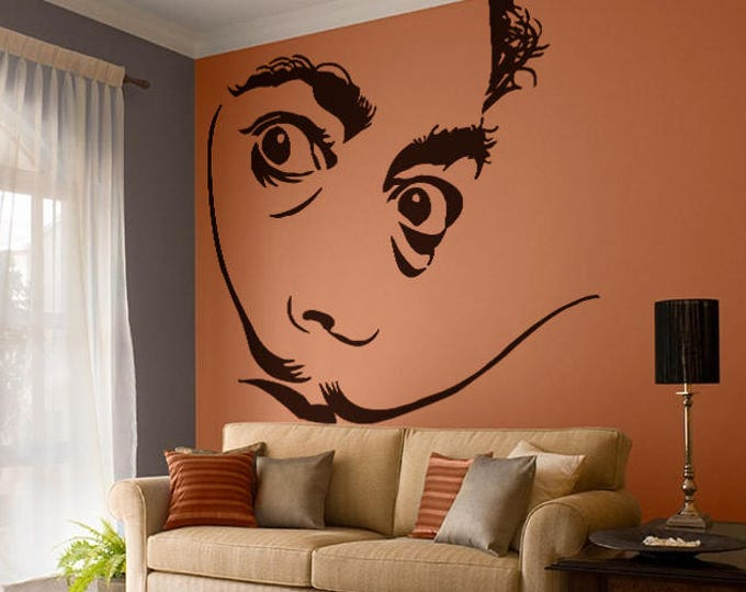 Salvador Dali Wall Decal Sticker, Surrealism Portrait Silhouette Shadow Persistence of Memory
