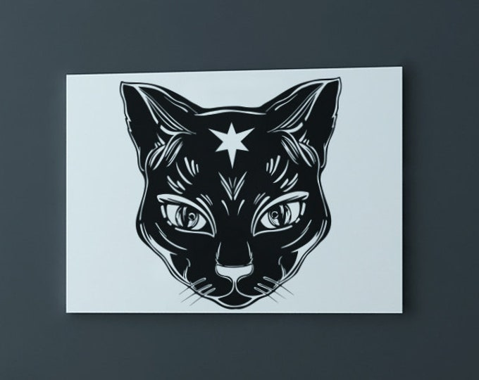Wicca Black Cat Wall Decal - Wicca Cats, Witch, Psychic, Ritual, Wiccan, Boho, Pentacle, Decor, Protection Spell, Interior Design, Dark Soul