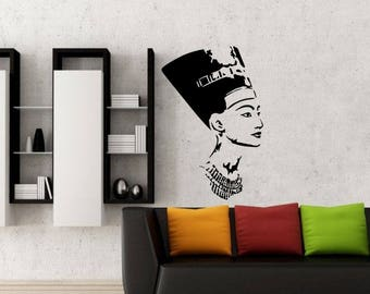Nefertiti Wall Decal, Wall Sticker, Silhouette, Premium Wall Decal,  Nefertiti portrait, Queen Nefertiti, Nefertiti bust, Nefertiti Wall art