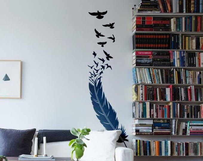 The Bird and the Feather - Wall decals / stickers for magical minds, Magical Minds Collection, wall / stickers / decal / sticker feathers