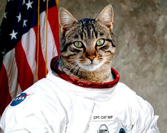 Captain CatNip - To boldly go where no cat has gone before - High Quality Prints - Funny Cat Astronaut Theme- Space Cats