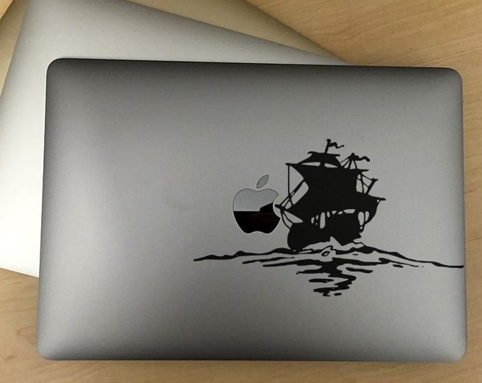 Old sailing ship at sea - Macbook decal, sticker, laptop decals, MAC, Ocean, Navy, Water, Vintage Ships, Nautic memories, Captain