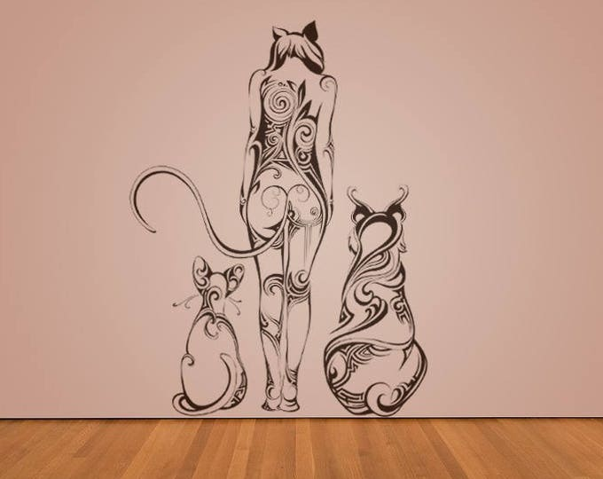Felines wall decal sticker for magical minds, Mystic collection, Wall decor stickers woman fantasy floral cat tiger puma lynx