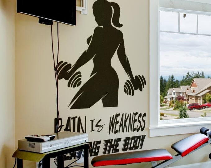 Pain is weakness leaving the body, Vinyl Decal for walls or windows - Sticker collection for wall decor and home improvement, Gym Room