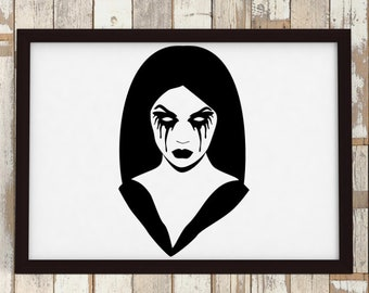 Gothic Girl No 4 - Ready for cut, print or engrave - Perfect for plotters, CNCs, Laser cutters - Instant File Delivery - SVG - GOTH SERIES