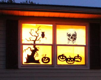 Halloween Splash Skull - Wall decals for festive seasons, Halloween window stickers and decals